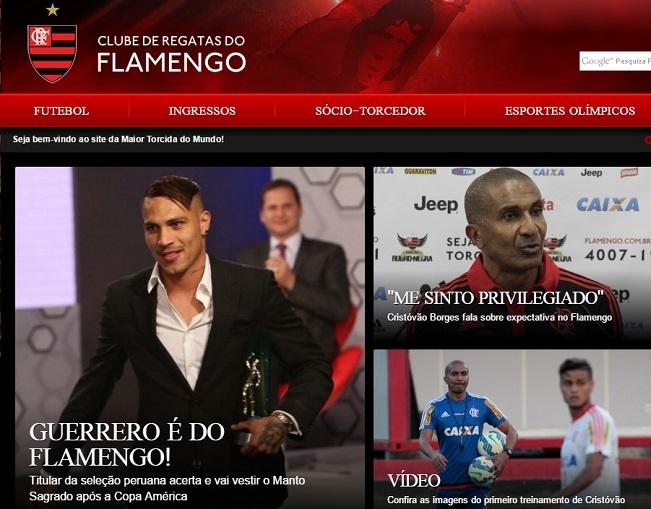 O site do Flamengo caiu instantes após o anúncio de Guerrero  recorde ... f720c95f0275c