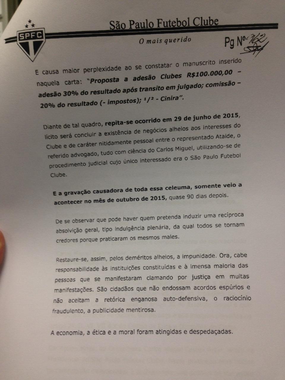 Comissão lembra que o manuscrito foi feito pouco tempo antes de briga com Aidar