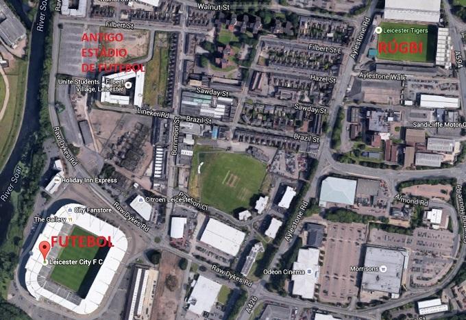 Estádios de rúgbi e futebol próximos, assim como era o antigo estádio do Leicester City