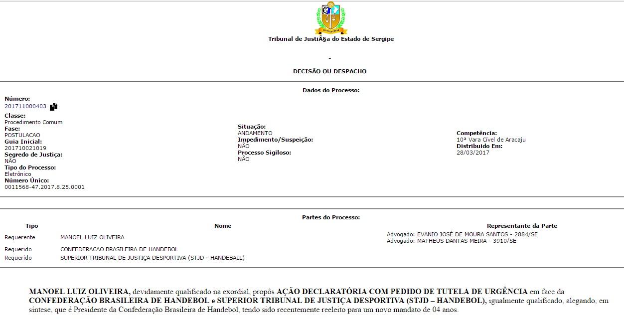 Processo de Manoel contra o STJD que corre na Justiça do Sergipe