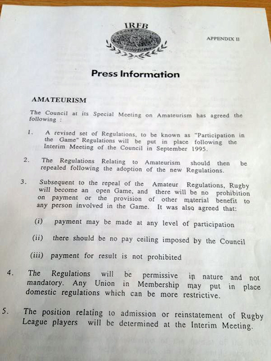 Imagem do histórico Press Release da reunião do Conselho da IRFB que abriu o rugby para o profissionalismo