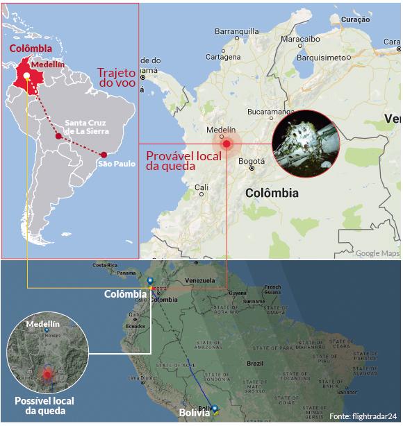 Mapa mostra o ponto da queda do voo da Chapecoense