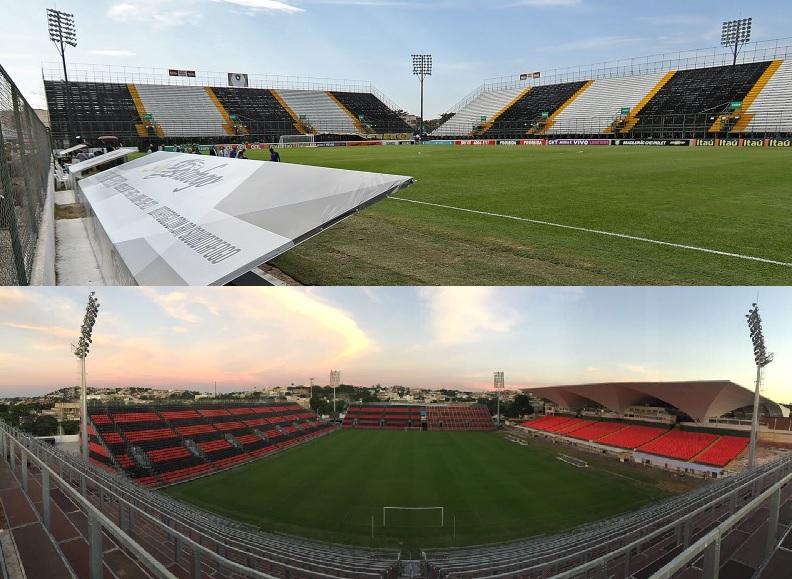 O estádio da Ilha em 2016, quando foi utilizado pelo Botafogo, e em 2017, ampliado pelo Flamengo