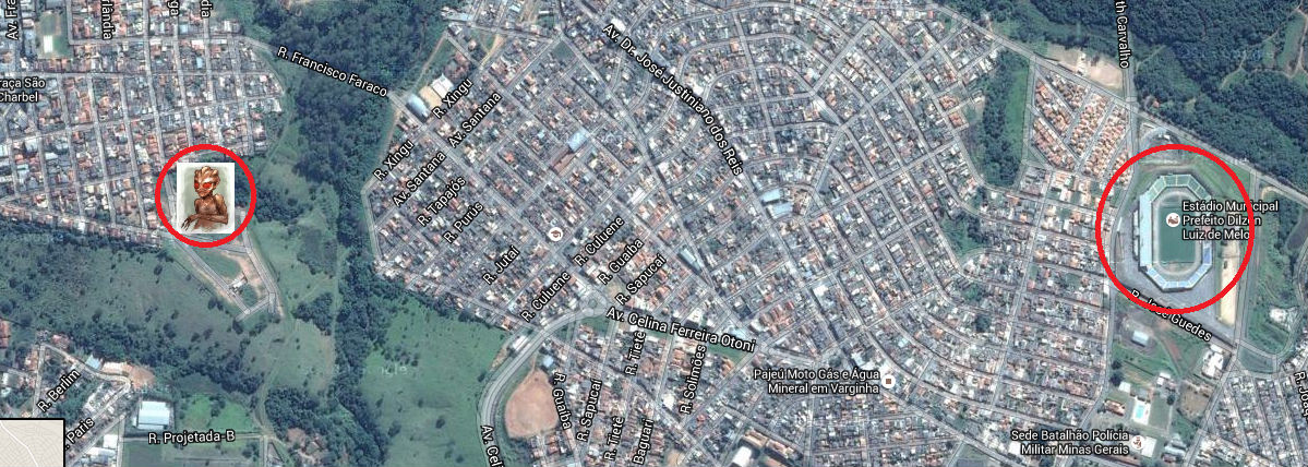 Mapa mostra distância do estádio de Varginha em relação ao local da 'aparição' do ET