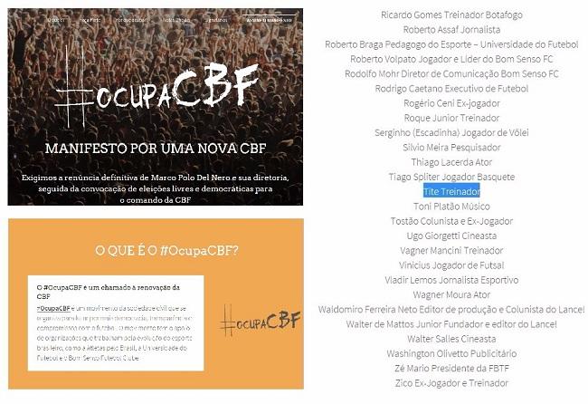 Tite apoiou o manifesto pela renúncia de Del Nero no 'Ocupa CBF', em dezembro