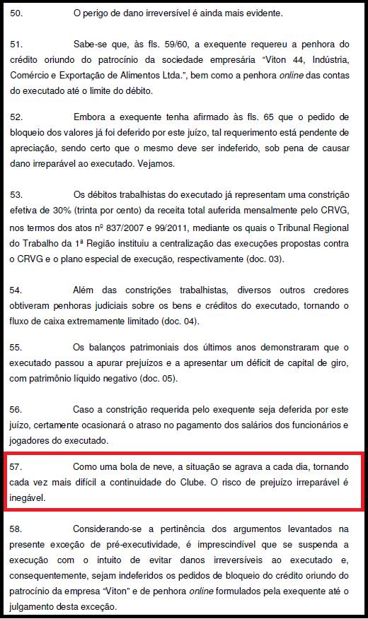 Tomado por dívidas, Vasco disse à Justiça que corre o risco de fechar
