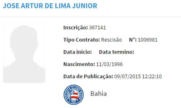 Em 9 de julho, a rescisão do contrato de José Artur com o Bahia foi confirmada