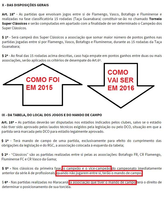 Trechos dos regulamentos do Estadual do Rio do ano passado e deste ano
