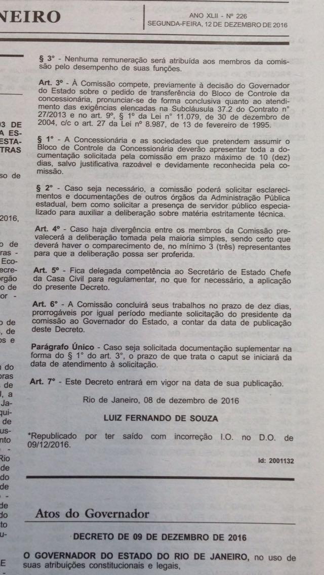Edital foi publicado no dia 12 de dezembro no Diário Oficial do Estado do Rio de Janeiro