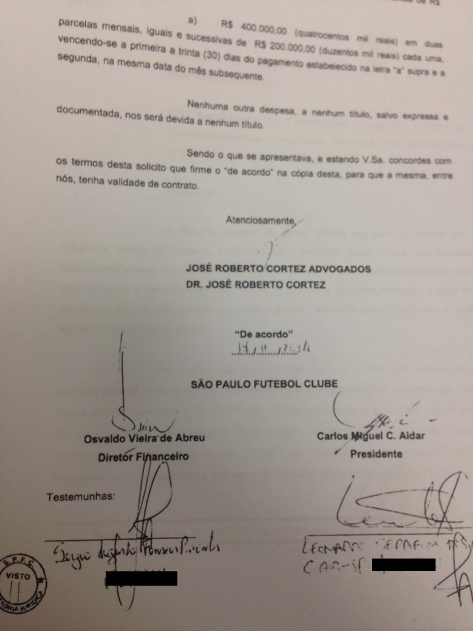 Assinaturas de Aidar, Serafim e Abreu constam em dois dos documentos feitos com Cortez