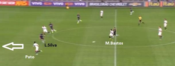Contragolpe do São Paulo, Pato infiltra pela esquerda contra Leonardo Silva - onde estava Marcos Rocha? Mas o atacante não aproveitou. Pecado fatal.