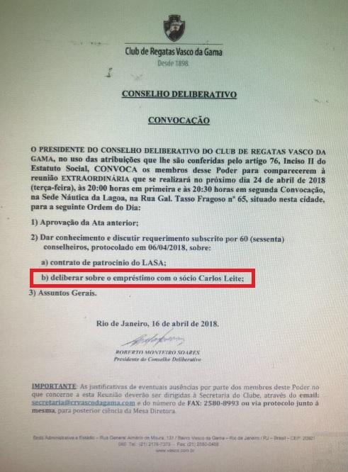 Convocação para reunião do Conselho do Vasco, realizada na terça, quando o empréstimo foi tema em pauta