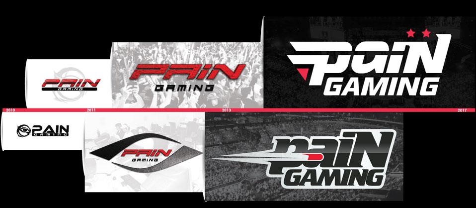 História dos logos da paiN Gaming desde 2010, ano de sua criação