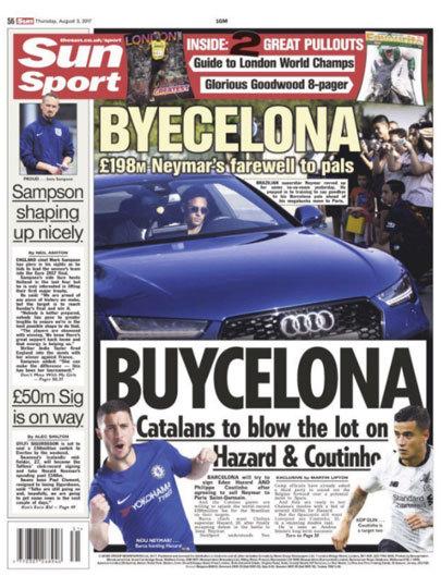 """O The Sun, do Reino Unido, brincou com as palavras: """"Byecelona"""", como """"Adeus, Barcelona"""". Embaixo, outro trocadilho: """"Buycelona"""", já que estão procura"""