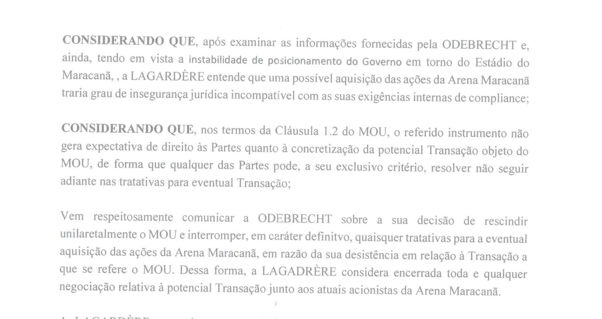 Nota da Lagardère na qual comunicou desistência de adquirir Maracanã e Maracanãzinho
