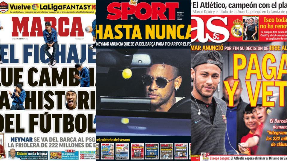 """Da """"contratação que muda a história"""" ao """"até nunca"""": a ida de Neymar ao PSG nos jornais europeus"""