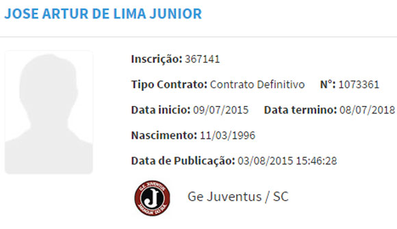 Em 3 de agosto, o volante foi registrado pelo Juventus-SC com vínculo de três anos