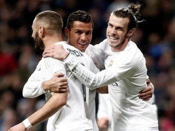 Bale, Benzema e Cristiano Ronaldo, o trio de ataque do Real Madrid