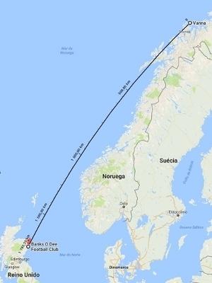 Veja a distância entre Aberdeen, na Escócia, e Vanna, na Noruéga