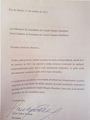 Carta de renúncia de Nuzman