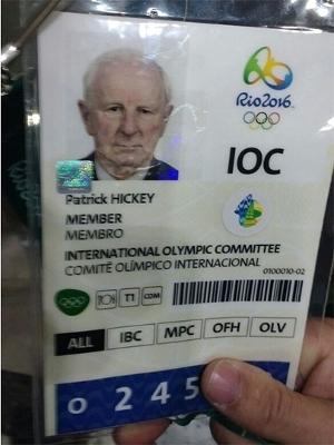 Credencial olímpica de Patrick Hickey
