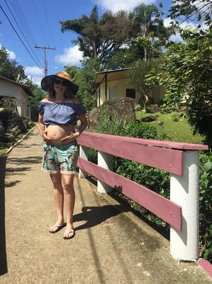 Atleta está grávida de sete meses da Julia,