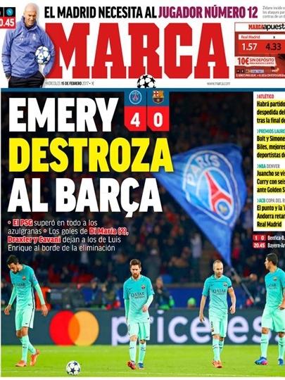 Diário madridista Marca destaca o técnico do PSG, Unay Emery: 'destruiu' o Barcelona