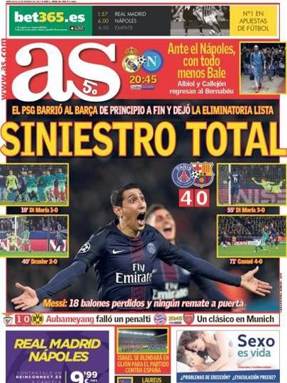 'Sinistro total', diz a capa do diário AS com a derrota do Barcelona