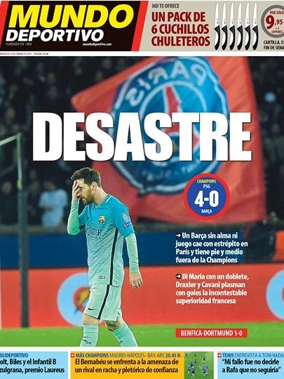Talvez não exista uma capa que expresse melhor a goleada em Paris do que a do Mundo Deportivo