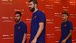 Messi, Piqué e Neymar participam de um evento de patrocinador