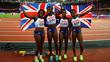 Britânicas comemoram vitória no revezamento 4x100