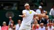 Roger Federer em ação na final de Wimbledon