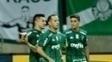 Guerra comemora gol palmeirense contra o Internacional, no Allianz Parque