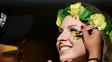 Torcedora pintou o rosto para jogo entre Brasil e Colômbia