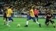 Robinho em ação durante amistoso da seleção contra a Colômbia
