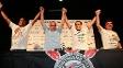 Eleição do Corinthians: André Luiz Oliveira (1º vice), Roberto de Andrade (presidente eleito), Jorge Kalil (2º vice) e Andrés Sanchez (ex-presidente)