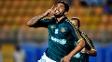 Vilson comemora após o abrir o placar para o Palmeiras no Pacaembu