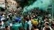 Torcida do Palmeiras faz festa na rua Palestra Itália e arredores do Allianz Parque
