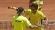 Marcelo Melo e Bruno Soares durante jogo contra o Equador
