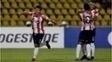 Jogadores do Barranquilla comemoram gol na vitória sobre o Carabobo