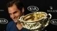 Federer durante coletiva de imprensa após conquistar o Australian Open