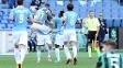 Jogadores da Lazio comemoram um dos gols da vitória sobre o Sassuolo no Italiano