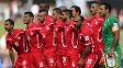 Jogadores da Palestina posam para foto na estreia na Copa da Ásia, contra o Japão