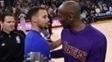 Curry e Kobe após a 16ª vitória dos Warriors