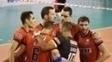 Jogadores do Sesi durante jogo pela Superliga