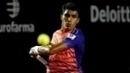 Thiago Monteiro durante jogo contra casper Rudd no Rio Open