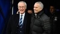 Claudio Ranieri e José Mourinho, em partida entre Leicester e Manchester United