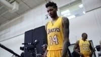 Brandon Ingram durante o 'media day' dos Lakers