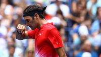Federer suando para vencer no US Open