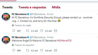 Conta do Twitter do Barcelona foi invadida